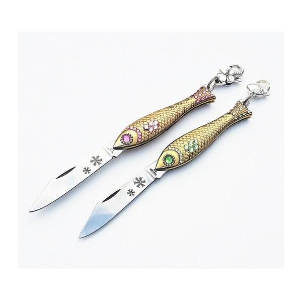 Sada 2 zlatých vianočných nožíkov rybičiek v plechovej krabičke