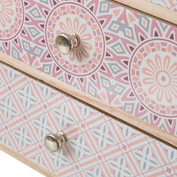 Ružová skrinka so 4 zásuvkami s dekoratívnymi motívmi Unimasa, výška 36,5 cm