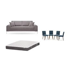 Set trojmiestnej hnedej pohovky, 4 modrých stoličiek a matraca 160 × 200 cm Home Essentials