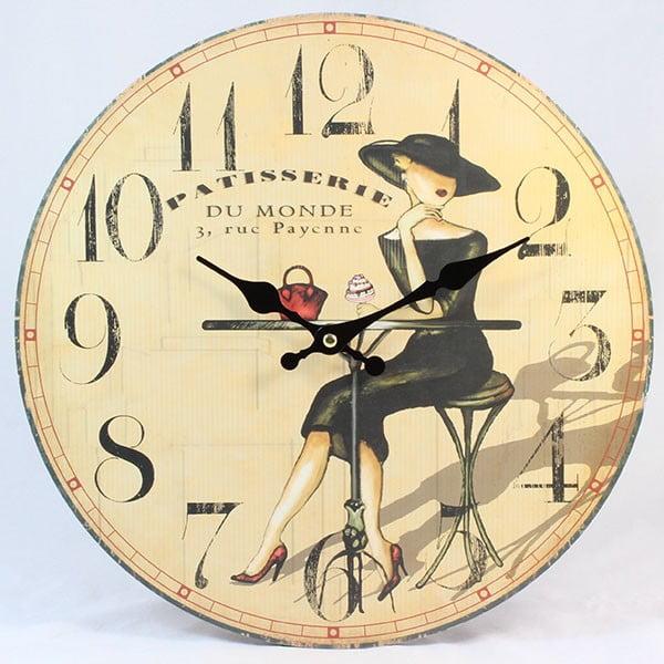 Drevené hodiny Patisserie Lady