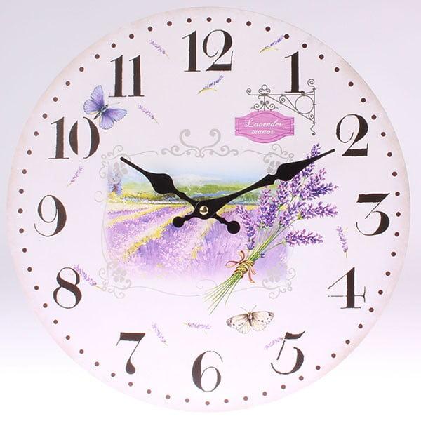 Drevené hodiny Lavender Manor, 34 cm