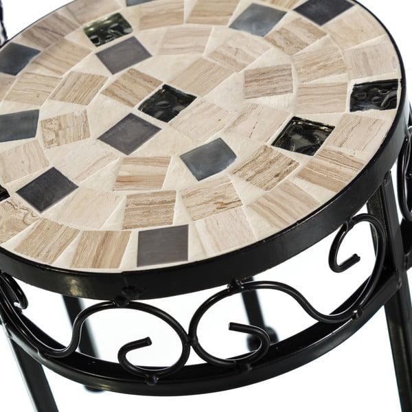 Sada 2 okrúhlych odkladacích stolíkov s keramickou mozaikou Sea