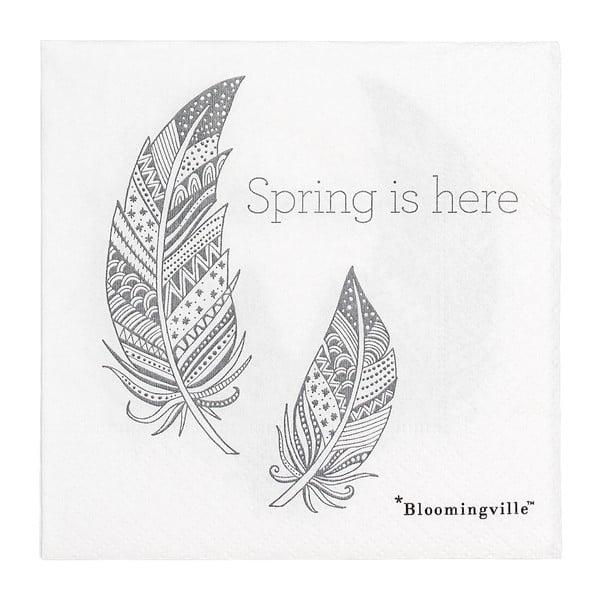 Sada 20 papierových obrúskov Bloomingville Spring, 25 x 25 cm