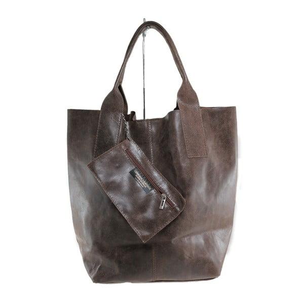 Hnedá kožená kabelka Toti
