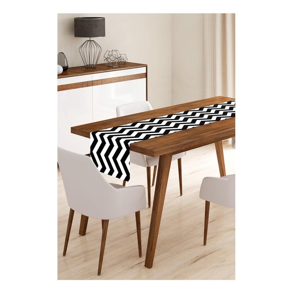 Behúň na stôl z mikrovlákna Minimalist Cushion Covers Black Stripes, 45 × 145 cm