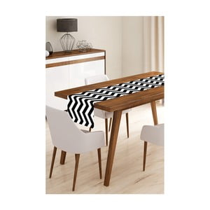Behúň na stôl z mikrovlákna Minimalist Cushion Covers Black Stripes, 45 × 145 cm