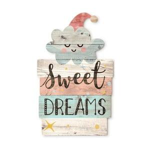 Drevená nástenná dekorácia Tanuki Sweet Dreams, 30×48cm