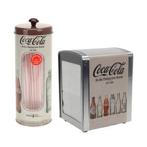 Stojan na obrúsky s dózou s brčky Coca-Cola