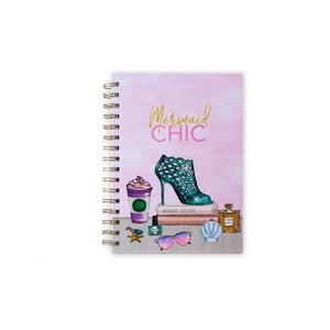 Krúžkový linkovaný zošit Tri-Coastal Design Mermaid Chic, 120 strán