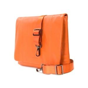 Oranžová taška na rameno z talianskej kože Tucano One