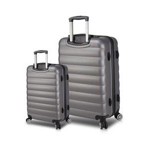Sada 2 sivých cestovných kufrov na kolieskach s USB porty My Valice RESSNO Cabin & Large