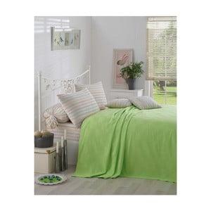 Zelená bavlnená prikrývka cez posteľ Kare Orgu, 200 x 234 cm