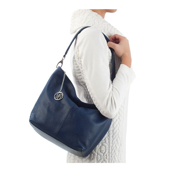 Kožená kabelka Marco, tmavo modrá
