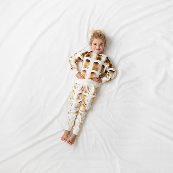 Biele dievčenské nohavice Snurk Toast, 140