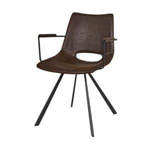 Hnedá jedálenská stolička s čiernym podnožím a opierkami Canett Coronas