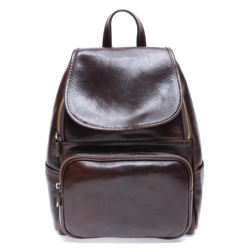 Tmavohnedý kožený batoh Roberta M Francesca