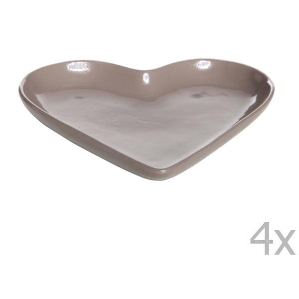 Sada 4 tanierov v tvare srdca Heart, 22 cm