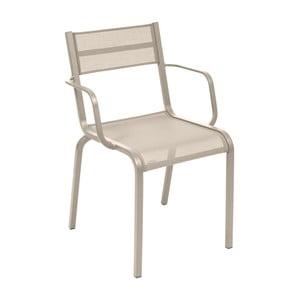 Sada 2 béžových kovových záhradných stoličiek Fermob Oléron Arms