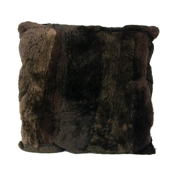 Kožušinový vankúš 45x45 cm, hnedočierny