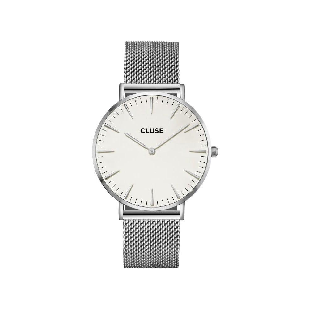 Dámske hodinky antikoro v striebornej farbe s bielym ciferníkom Cluse La Bohéme