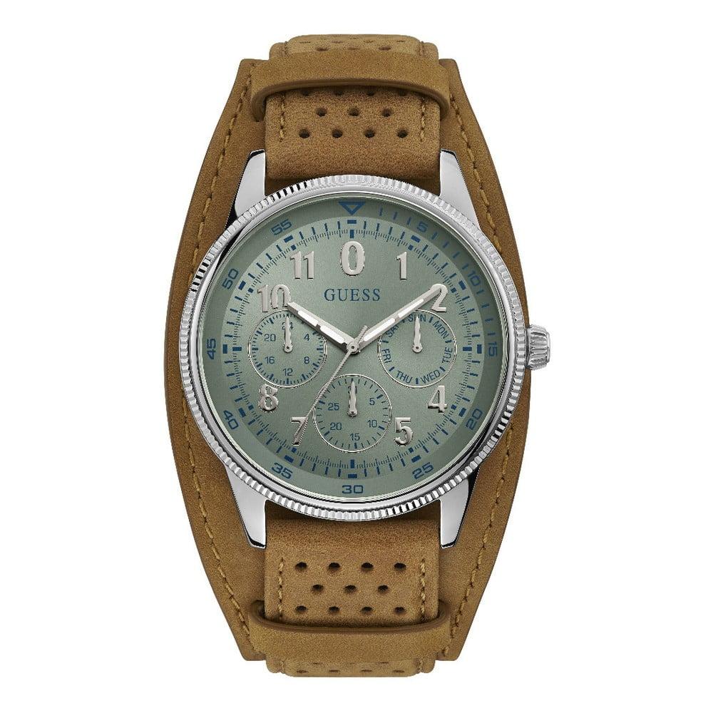 Pánske hodinky s remienkom z ušľachtilej kože v hnedej farbe Guess W1243G1