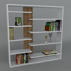 Knižnica Handy Book White/Walnut, 22x125x126 cm