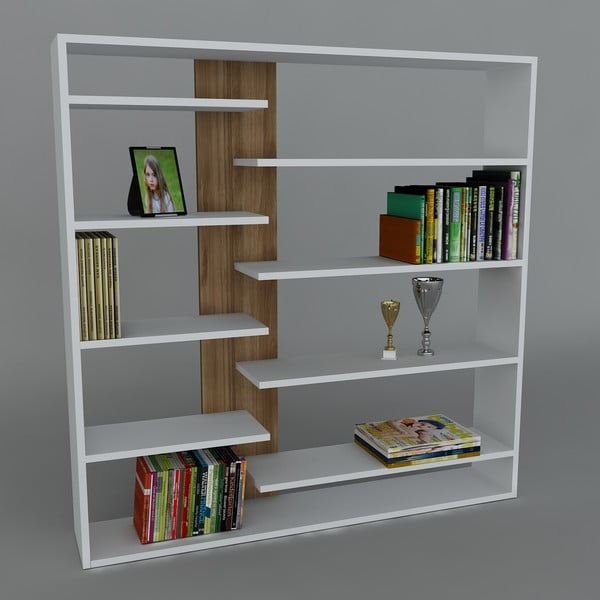 Knižnica Handy Book White/Walnut, 22x125x126 cm