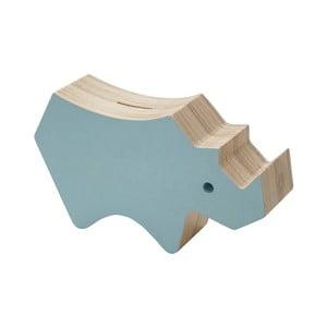 Drevená modrá pokladnička Sebra Rhino