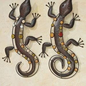 Sada 2 nástenných dekorácií Wall Lizards
