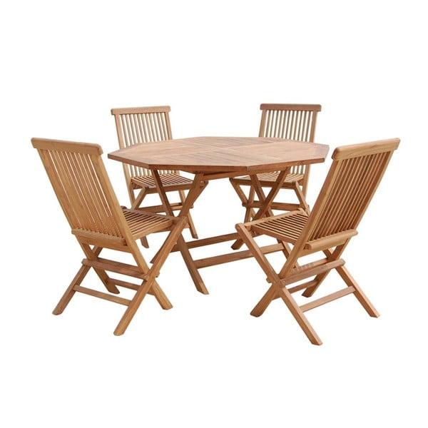 Záhradný stôl a 4 stoličky Sevilla Natural