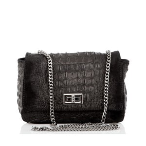 Čierna kožená listová kabelka Glorious Black Miranda