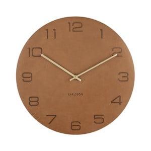 Koňakovohnedé nástenné hodiny Karlsson Vigorous, Ø40cm