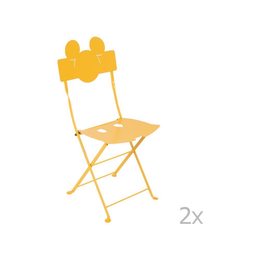 Sada 2 žltých kovových záhradných stoličiek Fermob Bistro Mickey