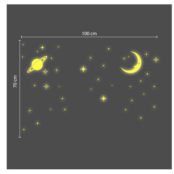 V tme svietiaca samolepka Walplus Mesiac a hviezdy