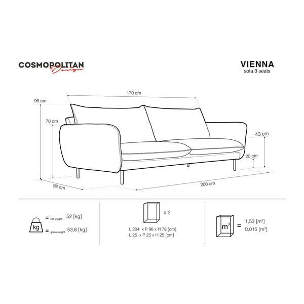 Svetlosivá trojmiestna pohovka Cosmopolitan Design Vienna