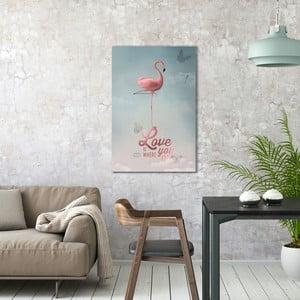 Obraz na plátne OrangeWallz Flamingo, 60 x 90 cm