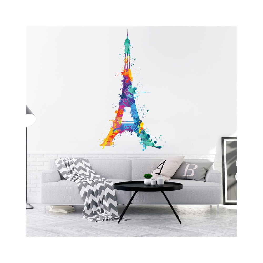 Nástenná samolepka Ambiance Wall Decal Eiffel Tower Design Watercolor, 70 × 40 cm