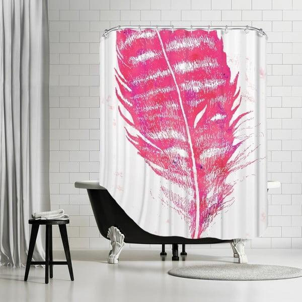Kúpeľňový záves Pink Feather, 180x180 cm
