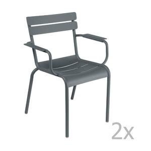 Sada 2 tmavosivých stoličiek s opierkami na ruky Fermob Luxembourg