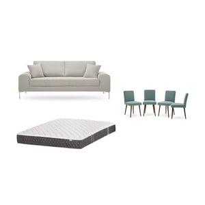 Set trojmiestnej krémovej pohovky, 4 sivozelených stoličiek a matraca 160 × 200 cm Home Essentials