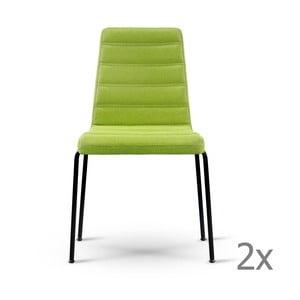 Sada 2 zelených stoličiek s čiernymi nohami Garageeight