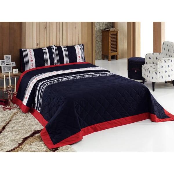 Sada prešívanej prikrývky na posteľ a dvoch vankúšov Black Red, 200x220 cm