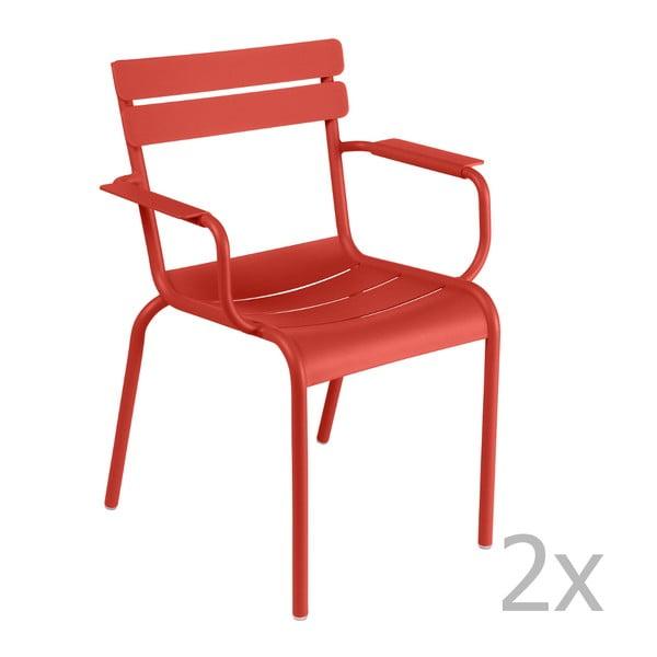 Sada 2 červenooranžových stoličiek s opierkami na ruky Fermob Luxembourg