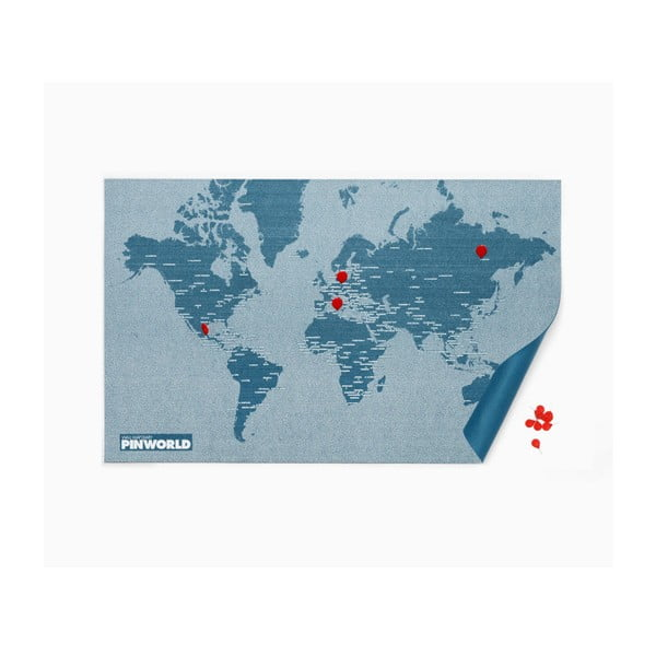 Modrá nástenná mapa Palomar Pin World, 126×68cm