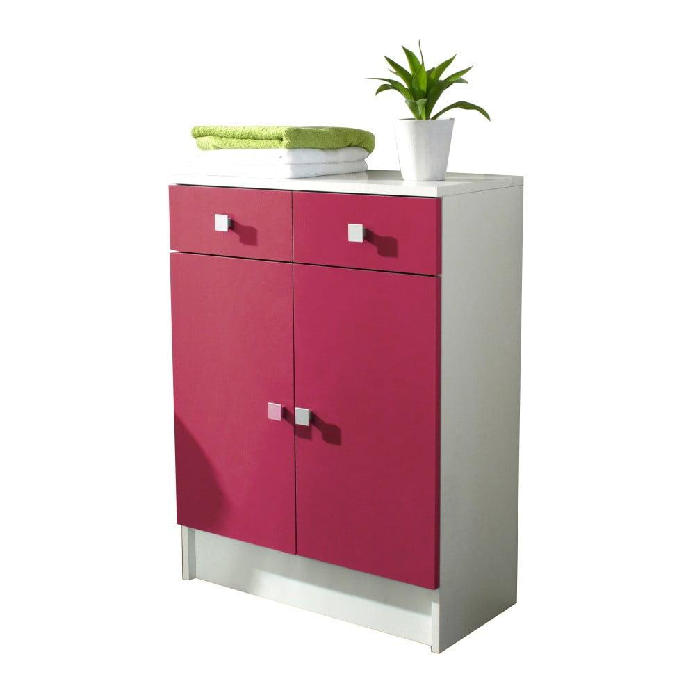 Ružová kúpeľňová skrinka Symbiosis Combi, šírka 60 cm