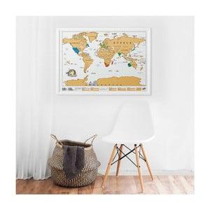 Zoškrabávacia mapa sveta s rámom Luckies of London Original