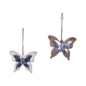 Sada 2 závesných dekorácií v tvare motýľov Ego Dekor, 11 x 9,5 cm
