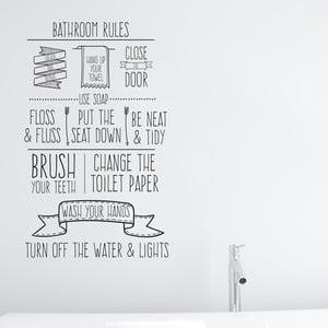Vinylová samolepka na stenu Little Nice Things Bathroom Rules