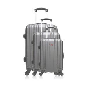 Sada 3 sivých cestovných kufrov na kolieskach 0+32