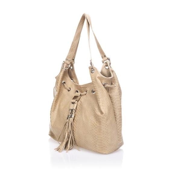 Béžová kožená kabelka Lisa Minardi Divisa